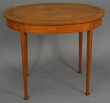 Edwardian style oval table with inlaid top, ht. 30