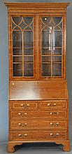 Contemporary secretary desk in two parts, ht. 85 in.; wd. 34 in.; dp. 10 in.