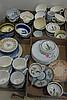 Five box lots of Quimper including cups, saucers, soup bowls, and plates.