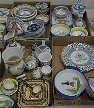 Five box lots of Quimper including vases, serving pieces, pitchers, plates, bowls, etc.
