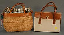 Two purses including a Burberry wicker handbag and Lambertson Truex cloth and leather bag.