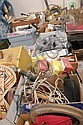 Table lot of tools, parts, crafts, binoculars, electronics, pocket books, and misc.