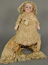 Kestner closed mouth bisque head doll, sleep eyes, ball jointed composition body. lg. 16 in.