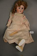 ABG German bisque head doll, open mouth. lg. 23 in.