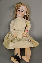 German 60 bisque head doll, ball jointed composition body, eyes present (not set). lg. 25 in.