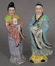 Pair of Chinese porcelain figures.Rht. 17 in.