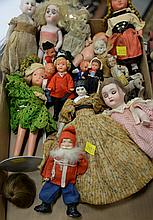 Box lot of small dolls, porcelain, bisque head, etc.