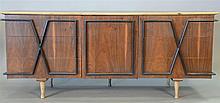 Merton Gershun for American of Martinsville nine drawer dresser, refinished walnut with black ebonized geometric designed pulls. ht....