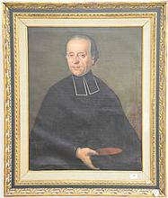 Large oil on canvas painting of priest, marked center right
