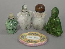 Chinese group to include four hardstone snuff bottles, hardstone green carved Buddha pendant, and a porcelain plaque. snuff bottles ...