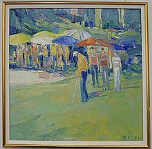 Italo George Botti (1923-2003) Golfing at the Fringe, oil on canvas signed lower right Botti. 36