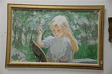 Thornton Utz (1914-1999) mixed media on board  of young blond girl brushing her hair signed lower left Thornton Utz 1914-1999. 30