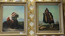 Pair of oil on canvas paintings of shepherdess, unsigned, restretched and relined. 19