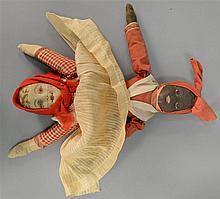 Bruckner Topsy Turvy cloth doll with original clothing, 1930 Folk Art. ht. 12 1/2 in.