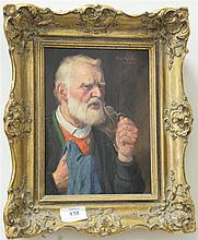 Fritz Muller (1897) oil on masonite bust of bearded man cleaning glasses signed top right Fritz Muller Munchen. 9 1/2