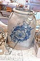 Stoneware crock with blue flower decoration, 2 gallon.