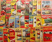 Hot Rod, Customs Sports car paperbacks, most are 75 cent printed in 1950's-60s,  50 books plus mags