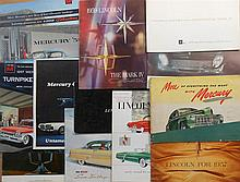 1950'-60's Mercury, Cougar, Lincoln, Ford brochures, 62 items