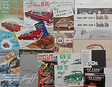 1940's-1960's Studebaker, Packard, Kaiser, Jeep & Checker brochures, 62 items