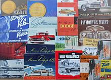 1930's-1950's Dodge, DeSoto, Plymouth brochures, 37 items