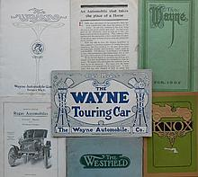 5 cat - 2 diff 1905, 1908 Wayne, ca 1902 Westfield,  1908 Knox  -  2 fldrs - 1904 Regas, 1906 Success