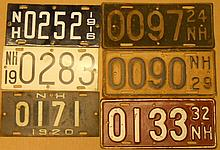 Six NH commercial boat plates - 1916, 19, 20, 24, 29, 32