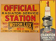 Two signs - Champion Spark Plug 10.5 x 27, Motor Lux 26 x 19