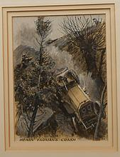 Peter Helck final artwork, pg 32 Check Flag, Henry Farman's crash, 1905 Gordon Bennett, image 8x10, frame 17x21