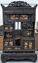 Japanese Shibayama / cabinet in three parts with bone decoration, three dimensional birds and pierce carvings with several doors and...