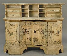 Italian Baroque painted wood secretary desk with superstructure, carved monogrammed 'M.T.' with heart inside door interior, 18th cen.