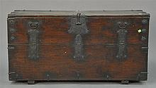 Large low hardwood chest (Bandaji) with iron hardware, single compartment with front-opening hinged panel, walnut or possibly zelkov...