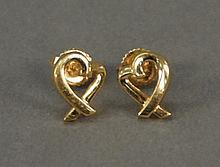Tiffany 18K gold earrings marked Feretti Tiffany & Co. 7.29 grams