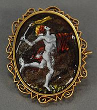 Gold brooch, set with oval enameled copper plaque with Olympic type torch.