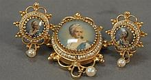 Victorian 14K gold brooch and earrings set with hand painted portraits. 23.3 grams total weight