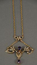 9K gold lavalier set with amethyst and pearls.