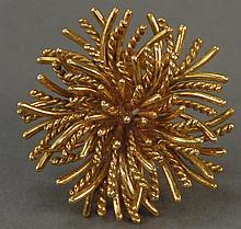 Tiffany 18K gold floral pin, marked Tiffany & Co. 23 grams
