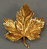 Tiffany 18K gold leaf pin, marked Tiffany & Co. 14.9 grams