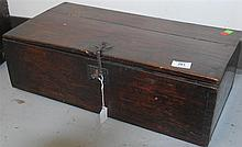 Small hardwood chest (Bandaji) with iron hardware, single compartment with sliding top, possibly for rice storage, Korea, Joseon Dyn...