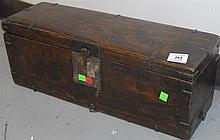 "Small wooden chest (Bandaji) with tray and two compartments, iron hardware and ""secret"" bottom side drawer, missing lower iron faste..."