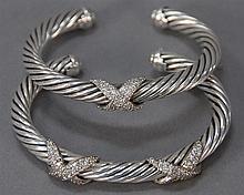 David Yurman pair of sterling silver twist bracelets, one set with two X's set with diamonds and one set with one X set with diamond..