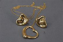 Tiffany 18k gold three piece lot to include chain with open heart and pair of heart shaped earrings, all signed Peretti Tiffany & Co...