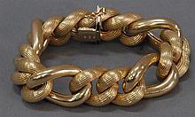 Sak 14k gold extra large link bracelet, signed SAK, 73.9 grams.