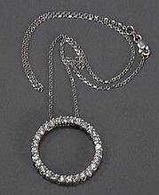 14k white gold chain with diamond eternity circle having thirty diamonds.