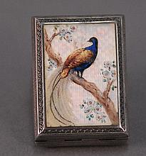 Silver enameled travel clock with peacock, marked Germany.
