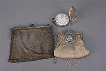 Three silver pieces, two purses and a pocket watch.