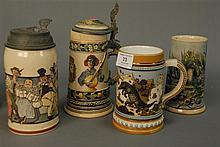 Four steins including one Mettlach, one FLA souvenir, and one with crack.