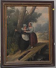 Unsigned, 19th century of girl walking with mother, restretched and relined.