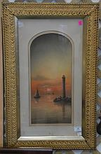 Pastel of lighthouse in Victorian frame. 19 1/2
