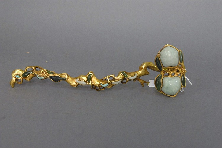 Gold gilt bronze ruyi scepter mounted with hardstone, lg. 11 1/2
