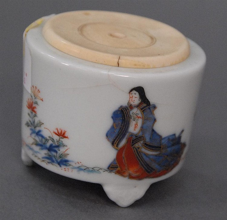 Oriental covered brush pot having painted figure and flowers with round ivory cover, ht. 2 1/2in.; dia. 2 3/4in. Being sold to benef...